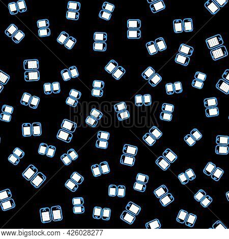 Line The Commandments Icon Isolated Seamless Pattern On Black Background. Gods Law Concept. Vector