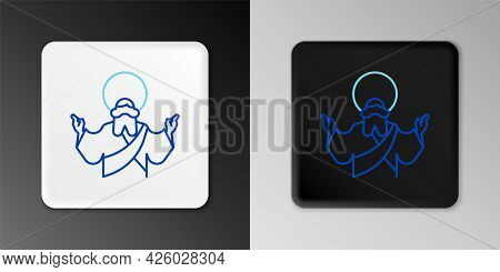 Line Jesus Christ Icon Isolated On Grey Background. Colorful Outline Concept. Vector