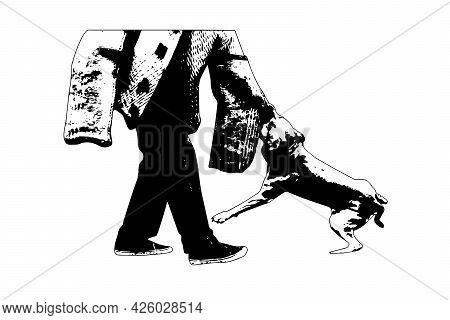 Black And White Silhouette  Police K9 Training With Bite Decoy. An American Staffordshire Terrier Ag