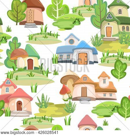 Town Of Gnomes. Seamless Pattern. Isolated. Fabulous Landscape With Trees. Hills And Forest. Flat Ca