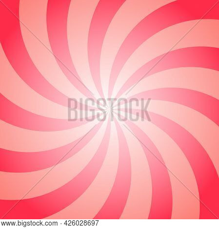 Sunlight Retro Faded Background. Red And Beige Color Burst Background. Vector Circus Illustration. S