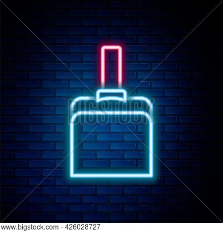 Glowing Neon Line Dustpan Icon Isolated On Brick Wall Background. Cleaning Scoop Services. Colorful