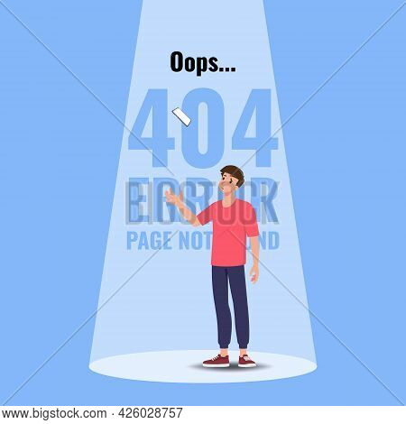 Flat Error 404 Sign Layout Yellow Screen On A Mobile Phone. The Man Standing Near A Floating Cell Ph