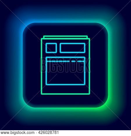 Glowing Neon Line Kitchen Dishwasher Machine Icon Isolated On Black Background. Colorful Outline Con