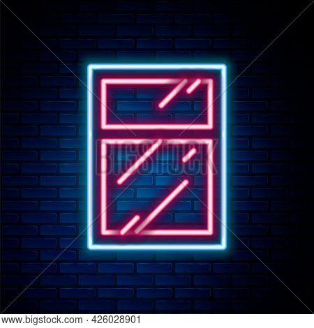Glowing Neon Line Cleaning Service For Windows Icon Isolated On Brick Wall Background. Squeegee, Scr