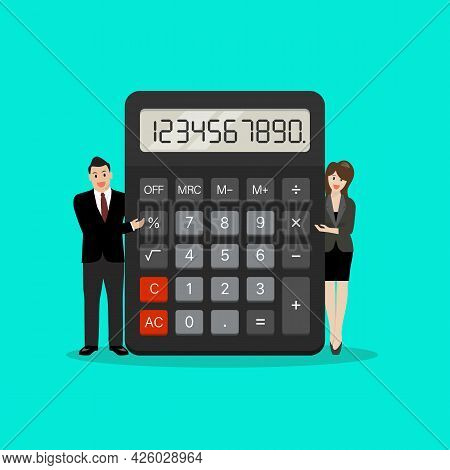 Tiny Business People With Calculator. Accounting, Financial Analytics. Vector Illustration