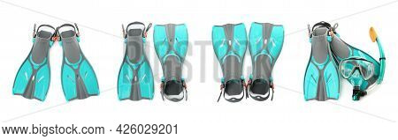 Set With Turquoise Flippers On White Background, Top View. Banner Design
