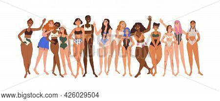 Women Body Positivity And Diversity Concept. Line Of Diverse Happy Woman In Swimwear. Mixed Females