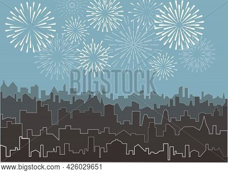 City Silhouette With White Fireworks. Vector Skyscrapers Landscape With Bright Holiday Salute. Celeb