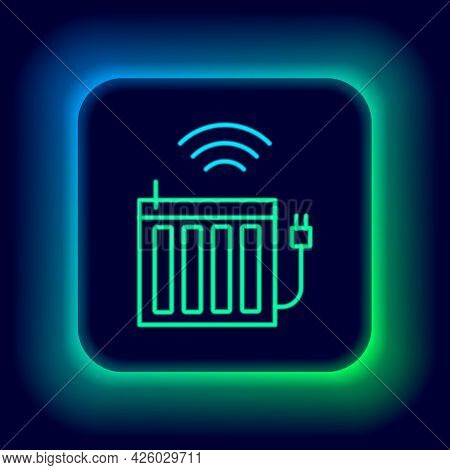 Glowing Neon Line Smart Heating Radiator System Icon Isolated On Black Background. Internet Of Thing