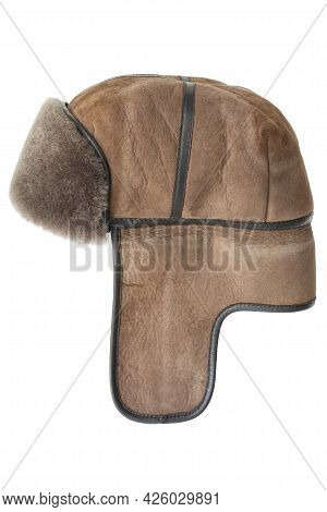 Winter Leather Hat With Ear Flaps Isolated Over White