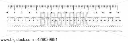 Measuring Rulers, Centimeters. Ruler 100 Cm. Measuring Tool. isolated On White Background