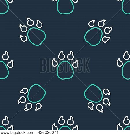 Line Paw Print Icon Isolated Seamless Pattern On Black Background. Dog Or Cat Paw Print. Animal Trac