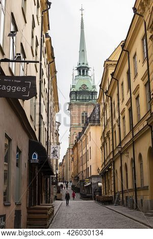Stockholm, Sweden - September 24, 2017: Stockholm Narrow Streets Of The Old Town Of Gamla Stan., The