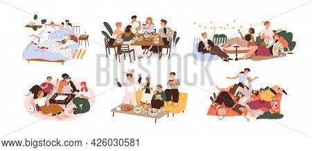 Set Of Happy People Gathering Together At Holiday Party. Friends Having Fun At Leisure. Outdoors And