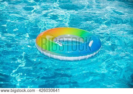 Float Ring, Floating In A Swimming Pool.