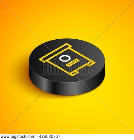Isometric Line Hive For Bees Icon Isolated On Yellow Background. Beehive Symbol. Apiary And Beekeepi