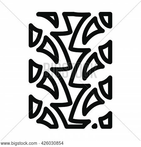 Bike Tyre Print Icon. Bold Outline Design With Editable Stroke Width. Vector Illustration.