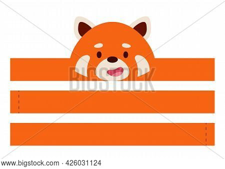 Printable Red Panda Paper Crown. Diy Cut Party Ribbon Template For Birthday, Christmas, Baby Shower.