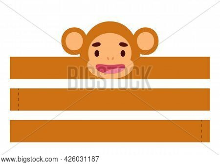 Printable Monkey Paper Crown. Diy Cut Party Ribbon Template For Birthday, Christmas, Baby Shower. Fu