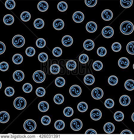 Line Yin Yang Symbol Of Harmony And Balance Icon Isolated Seamless Pattern On Black Background. Vect