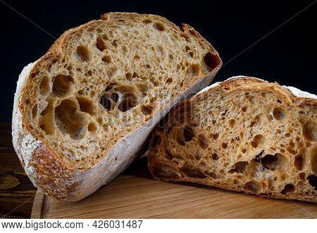 Sliced Bread Close-up. Art Bread. Sourdough Bread.