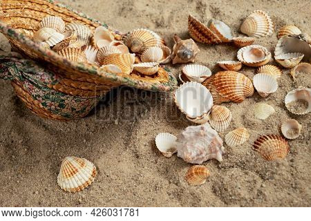 Straw Hat Filled With Seashells Collected On The Shore Is Thrown On The Sand On The Beach
