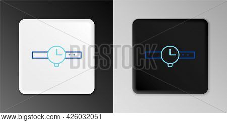 Line Wrist Watch Icon Isolated On Grey Background. Wristwatch Icon. Colorful Outline Concept. Vector