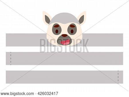 Printable Lemur Paper Crown. Diy Cut Party Ribbon Template For Birthday, Christmas, Baby Shower. Fun