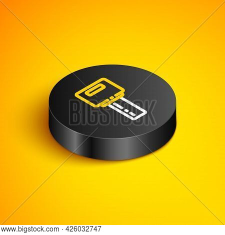Isometric Line Car Key With Remote Icon Isolated On Yellow Background. Car Key And Alarm System. Bla