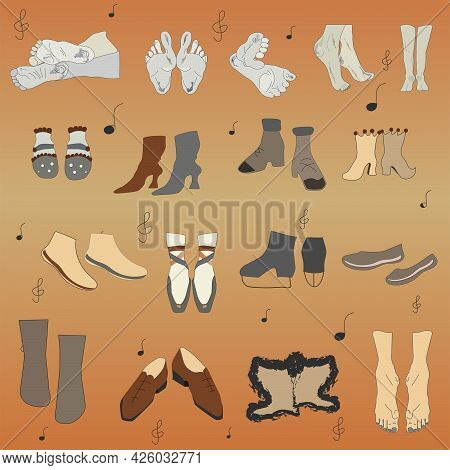 Human Feet In Different Angles And Positions. Shoes, Sneakers, Sandals.