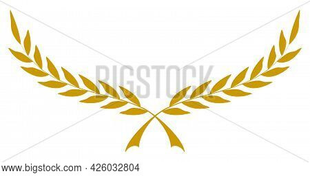 Laurel Honor Wreath Vector In Gold On White Isolated Background.