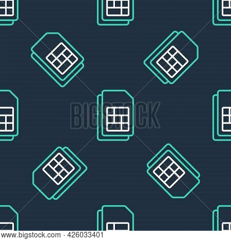 Line Sim Card Icon Isolated Seamless Pattern On Black Background. Mobile Cellular Phone Sim Card Chi