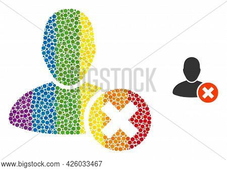 Delete User Composition Icon Of Spheric Dots In Various Sizes And Spectrum Color Tones. A Dotted Lgb