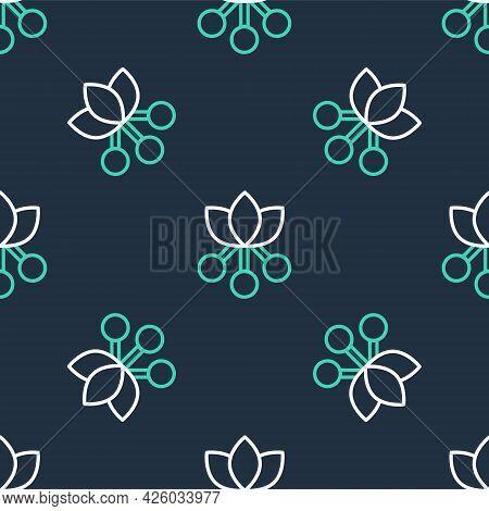 Line Coffee Bean, Branch With Leaf And Berry Icon Isolated Seamless Pattern On Black Background. Pla