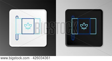 Line Flag Of Canada Icon Isolated On Grey Background. North America Country Flag On Flagpole. Colorf
