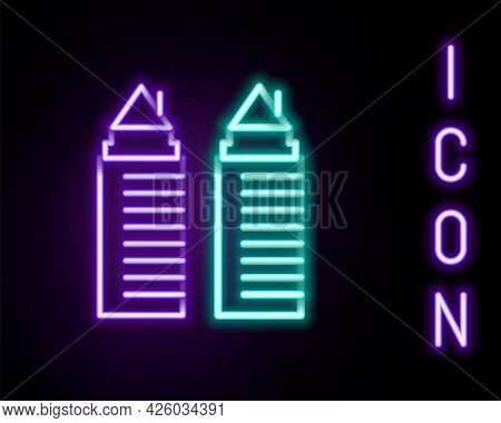 Glowing Neon Line Two Tall Residential Towers In The Dnipro City Icon Isolated On Black Background.