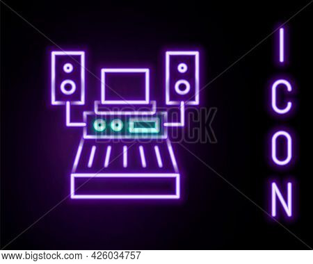 Glowing Neon Line Music Sound Recording Studio Control Room With Professional Equipment Icon Isolate