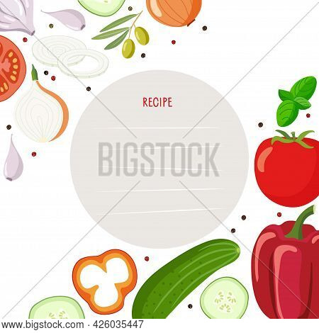 Recipe Card With Gaspacho Product Kit And Lines Vector Template. Background For Recipe With Tomato S