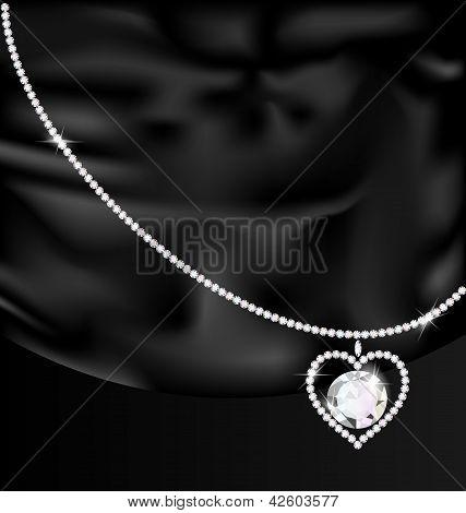 black silk and jewel heart