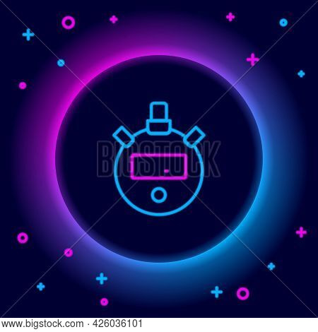 Glowing Neon Line Stopwatch Icon Isolated On Black Background. Time Timer Sign. Chronometer Sign. Co