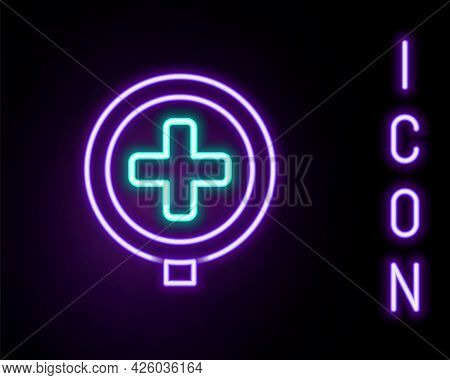 Glowing Neon Line Hospital Road Traffic Icon Isolated On Black Background. Traffic Rules And Safe Dr
