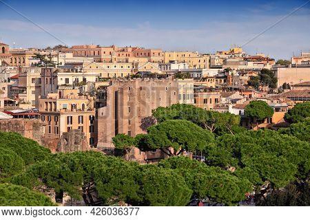 Rome City, Italy. Rione Monti - Cityscape Of Monti District In Rome.