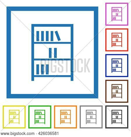 Bookshelf With Books Outline Flat Color Icons In Square Frames On White Background