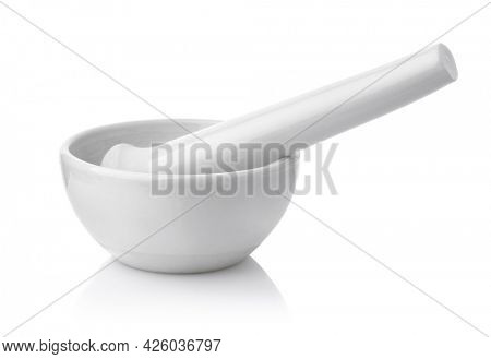 White porcelain lab mortar and pestle isolated on white