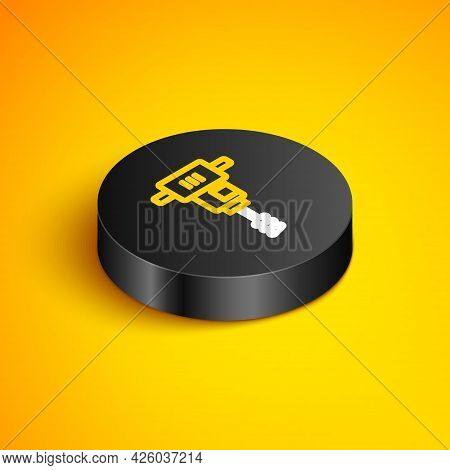 Isometric Line Electrical Hand Concrete Mixer Icon Isolated On Yellow Background. Handheld Electric