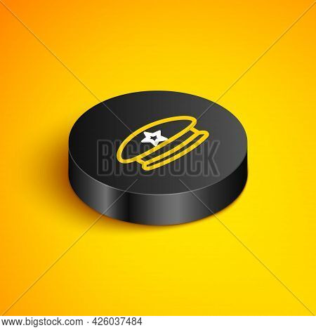 Isometric Line Military Beret Icon Isolated On Yellow Background. Soldiers Cap. Army Hat. War Baret.