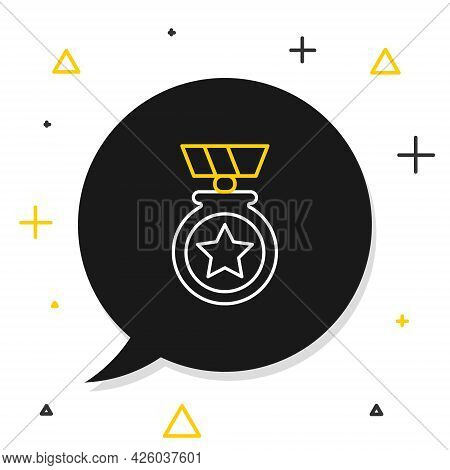 Line Medal With Star Icon Isolated On White Background. Winner Achievement Sign. Award Medal. Colorf