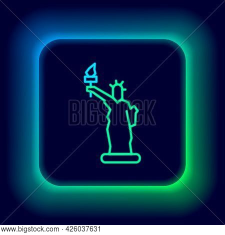 Glowing Neon Line Statue Of Liberty Icon Isolated On Black Background. New York, Usa. Colorful Outli