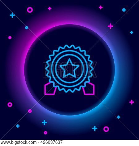 Glowing Neon Line Medal With Star Icon Isolated On Black Background. Winner Achievement Sign. Award